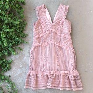 Bardot Kristen Lace Mini Ruffle Dress in Blush
